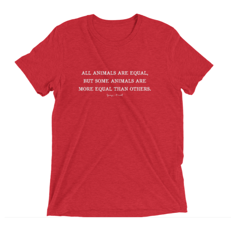 ALL ANIMALS ARE EQUAL wHITE INBK RED VINTAGE SHIRT