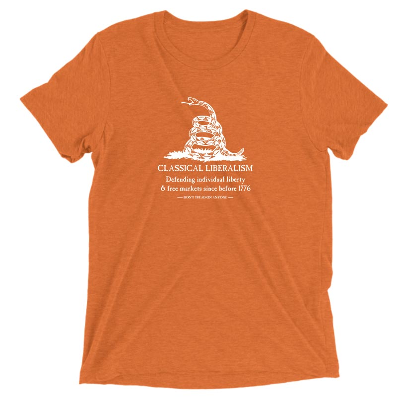 DONT TREAD ON ANYONE LIBERTARIANS 1776 ORANGE VINTAGE MENS SHIRT