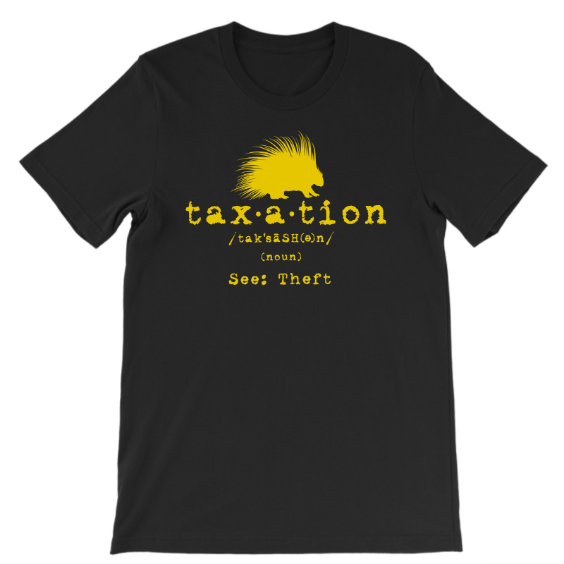 Taxation is theft defined Libertarian tshirt black uni w gold lettering