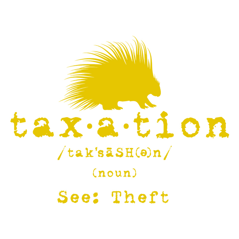 Taxation is theft defined Libertarian tshirt design – gold