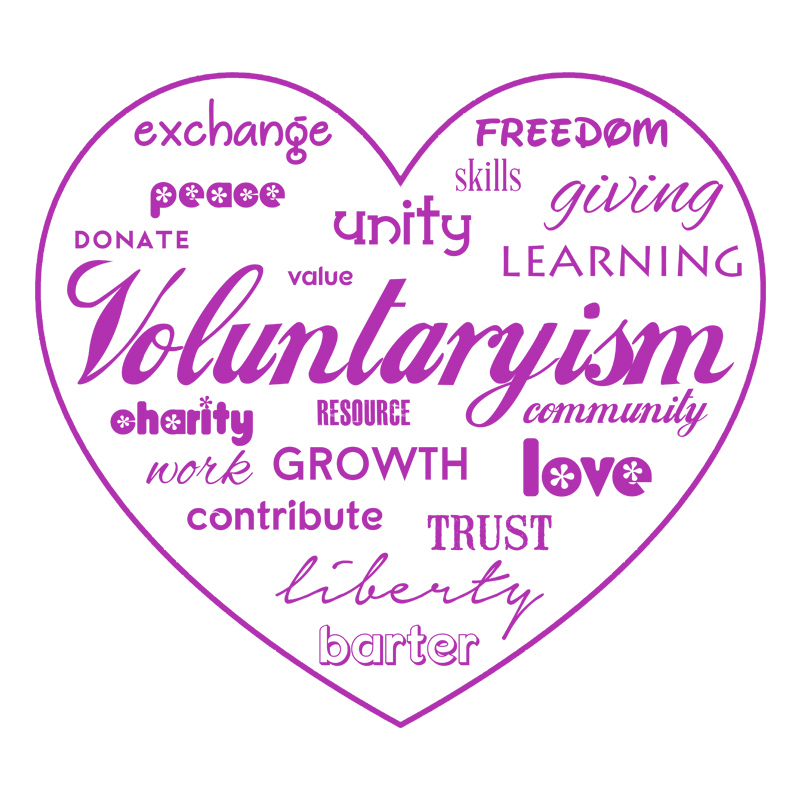 Voluntaryism Purple ink White Background
